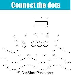 punti, educativo, bambini, gioco, collegare