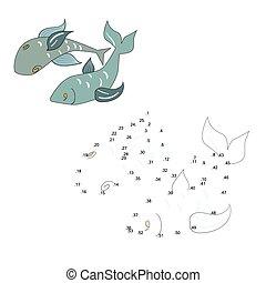 punti, fish, illustrazione, gioco, vettore, collegare