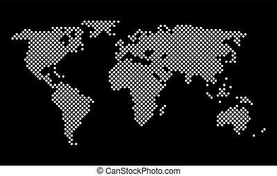 punti, mappa, pixel, vettore, mondo, rotondo