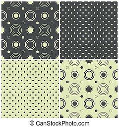 punti, modelli, polka, seamless, illustrazione, cerchi, vettore