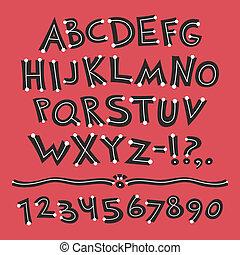 punti, retro, fondo, font, cartone animato, rosso