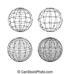 punti, set., wireframe, simboli, sfere, globo