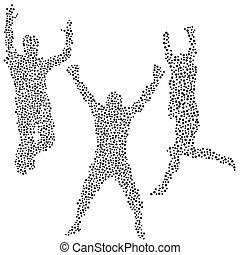 punti, silhouette, di, uomini, saltare