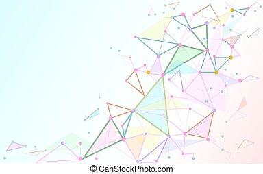 Punti, spazio, Estratto, linee, Connettere,  poly, fondo, bianco, triangoli, basso