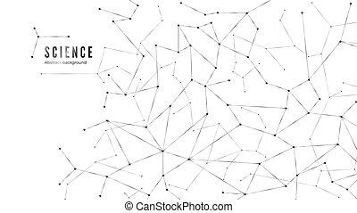 punti, structure., rete, plesso, linee, connection., illustrazione, fondo., vettore, nodi, complesso, dati