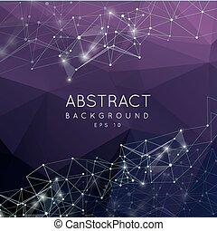 Punti, struttura, poligono, Estratto,  poly,  polygonal, fondo, collegamento, linee, disegno, basso, vettore, Connettere, Futuristico,  3D