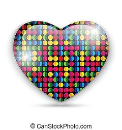 punti, vetro, colorare, struttura, cuore