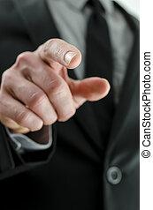 puntiagudo, vista, dedo, cortado, mano