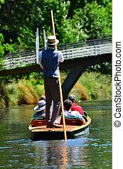 Punting on the Avon river Christchurch - New Zealand - ...