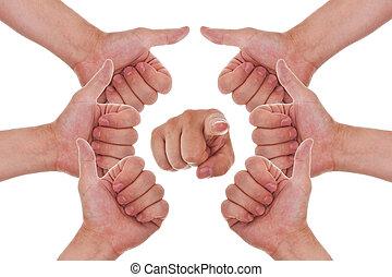 punto, arriba, pulgares, manos, elaboración, círculo, usted...