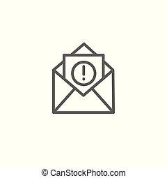 punto, campañas, icono, sobre, email, exclamación, y, mercadotecnia