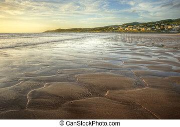 punto, detalle, textura, arena, ocaso, bajo, excelente, por, playa, vista