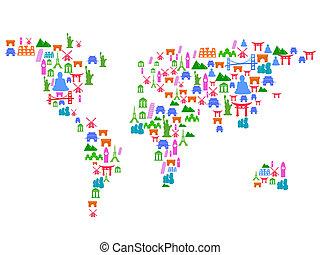 punto di riferimento, mappa, fatto, mondo, icone