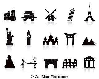 punto di riferimento, nero, icone
