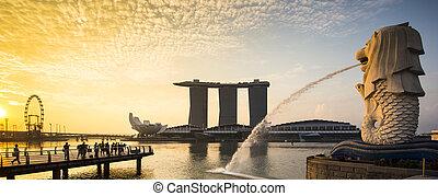 punto di riferimento, panorama, merlion, alba, singapore