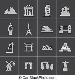 punto di riferimento, set, nero, vettore, icone