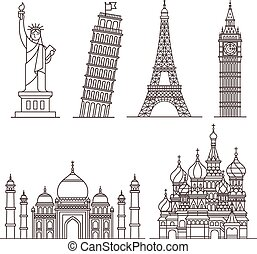 punto di riferimento, vettore, icons., illustrazione