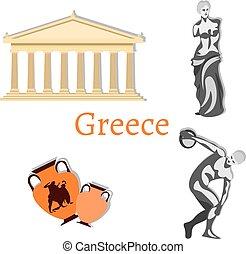 punto di riferimento, viaggiare, set, collezione, grecia