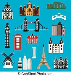punto di riferimento, viaggio mondo, appartamento, icone