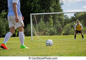 punto, futbol, patada, pena, jugador de la bola, listo