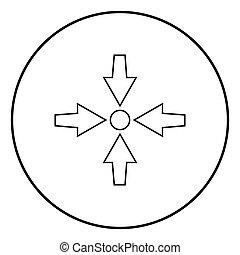 punto, immagine colore, mostra, frecce, illustrazione, quattro, semplice, vettore, nero, puntino, icona