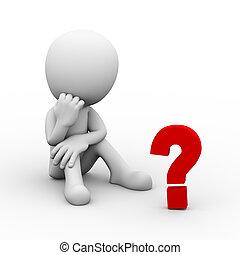 punto interrogativo, dall'aspetto, pensatore, uomo, 3d