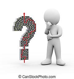 punto interrogativo, dall'aspetto, risolvere, labirinto, uomo, 3d