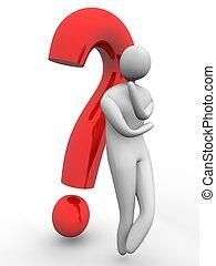 punto interrogativo, domandare, fronte, 3d, uomo