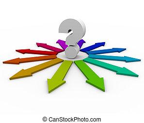 punto interrogativo, e, molti, frecce, -, scelte