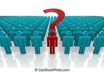 punto interrogativo, gruppo, persone