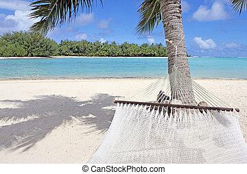 punto, laguna, rarotonga, vista, muri, hamaca, islas de cocinero