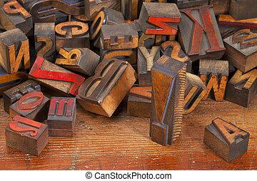punto, letterpress, esclamazione, blocchi, stampa