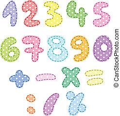 punto, números, con, puntadas