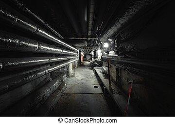 punto, pasaje, viejo, abandonado, vista, metro
