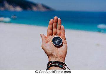 punto, pov, uno, palma, estirado, mar, abierto, hallazgo,...