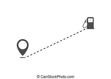 punto, relleno, stations., icono, ruta