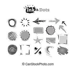 puntos, accents., gráfico, resumen, colección, halftone, elementos, diseño, tinta, garabato