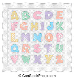 puntos, alfabeto, colcha, polca, pastel