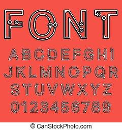 puntos, alfabeto, fuente