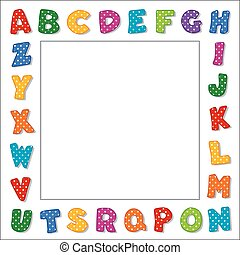 puntos, alfabeto, marco, polca