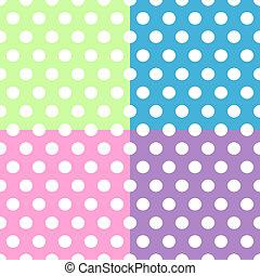 puntos, colorido, patrón, encima, polca, seamless, blanco, cuadrados