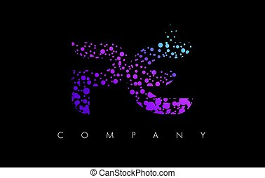 puntos, e, púrpura, partículas, p, carta, pe, logotipo,...