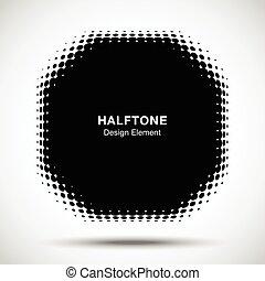 puntos, emblema, polígono, logotipo, patrón, resumen, torcido, halftone, fondo., vector, diseño, convexo, nuevo, elemento, tecnología, marco, negro