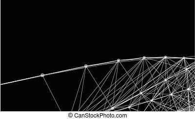 puntos, excepcional, red, sogas, líneas, resumen, pattern., tela, vector, negro, entrelazar, x, geométrico, grid., blanco, futurista, rayo