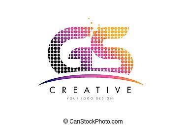 puntos, gs, g, s, diseño, carta, swoosh, logotipo, magenta