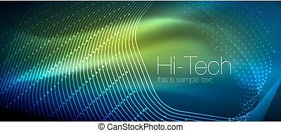 puntos, hola-hi-tech, neón, formas, plano de fondo, techno,...