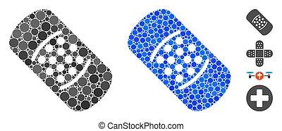 puntos, icono, mosaico, bandaid, redondo