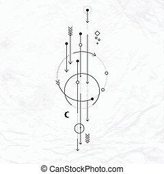 puntos, luna, símbolo, alquimia, flechas