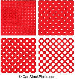 puntos, patrón, blanco, polca, rojo
