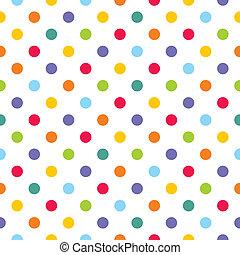 puntos, patrón, colorido, vector, polca